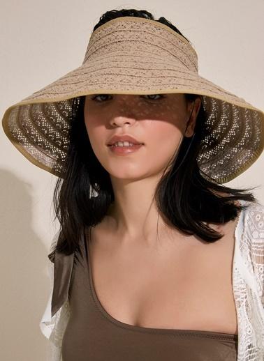 Morhipo Beach Dantel Detaylı Bej Hasır Şapka Vizon